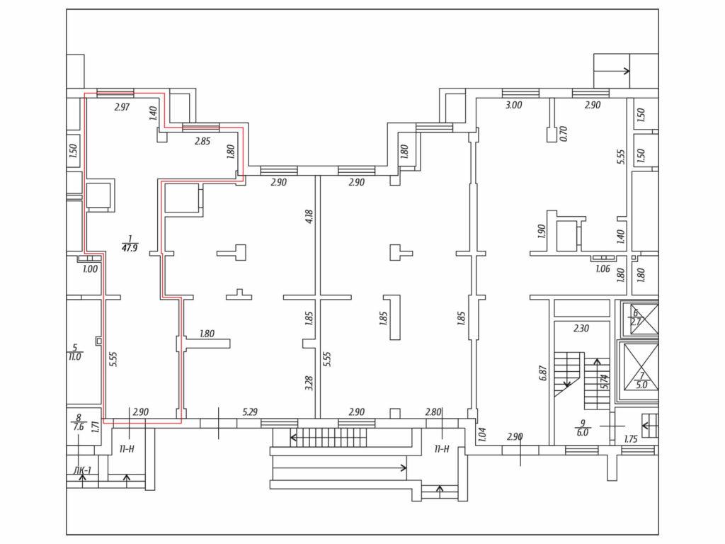 Торговое помещение, Муринская дорога 84, 11-H (47,9 м. кв.) - Планировка